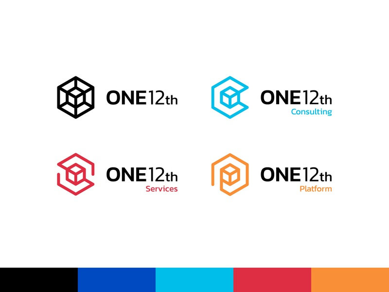 ONE12th Logos 2 hexagon logo cube logo tech identity tech logo modern identity modern logo visual identity brand identity logo design logo blue modern cube hexagon tech consulting services automation business data