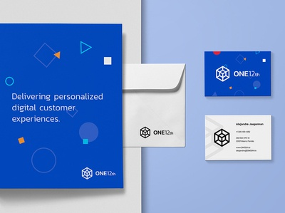 ONE12th Collateralss 2 hexagon logo cube logo tech identity tech logo modern identity modern logo visual identity brand identity logo design logo blue modern cube hexagon tech consulting services automation business data