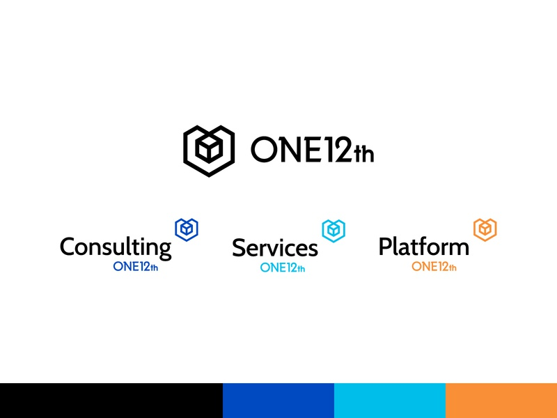 ONE12th Logos 3 hexagon logo cube logo tech identity tech logo modern identity modern logo visual identity brand identity logo design logo blue modern cube hexagon tech consulting services automation business data