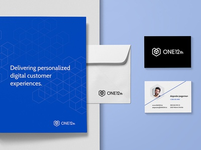 ONE12th Collaterals 3 hexagon logo cube logo tech identity tech logo modern identity modern logo visual identity brand identity logo design logo blue modern cube hexagon tech consulting services automation business data