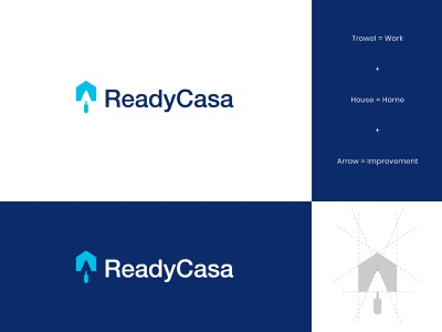 Ready Casa Logo & Identity 1 brand identity real estate modern logo design abstract logo arrow renovation work trowel house home casa ready
