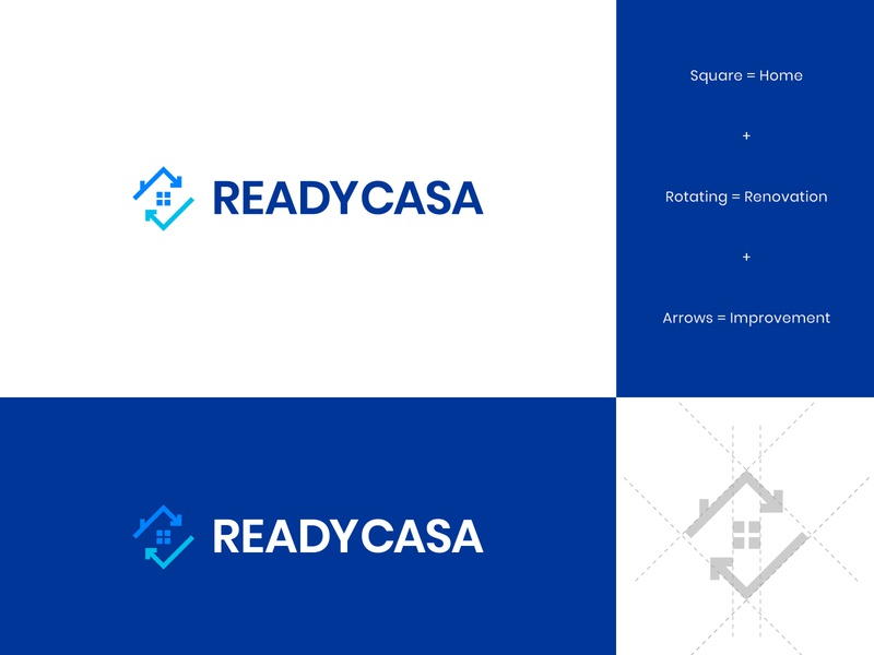 Ready Casa Logo & Identity 2 brand identity real estate modern logo design abstract logo arrow renovation work trowel house home casa ready