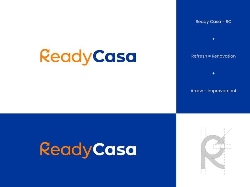 Ready Casa Logo & Identity 3 brand identity real estate modern logo design abstract logo arrow renovation work trowel house home casa ready