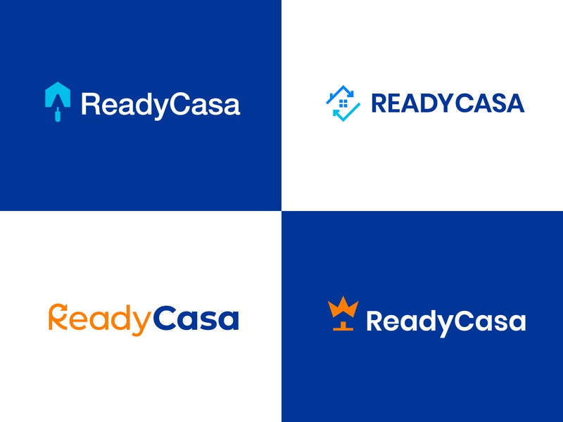 Ready Casa Logo Concepts brand identity real estate modern logo design abstract logo arrow renovation work trowel house home casa ready