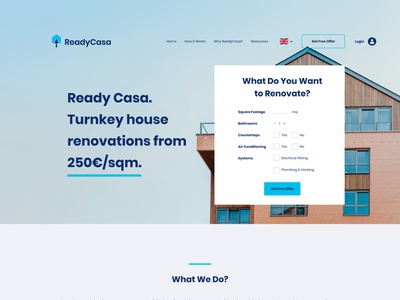 ReadyCasa Website Design uiux ui website design web design web website brand identity real estate modern logo design abstract logo arrow renovation work trowel house home casa ready