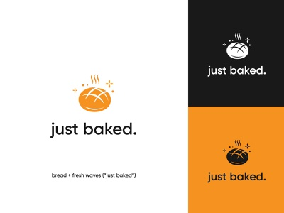 just baked logo 3 bread organic rolling pin wheat logo yellow wheat lettering wordmark logo wordmark logo pastry bakery logo bakery