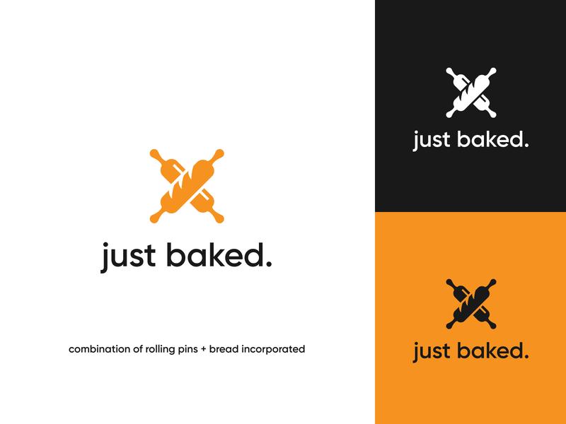 just baked logo 4 bread organic rolling pin wheat logo yellow wheat lettering wordmark logo wordmark logo pastry bakery logo bakery