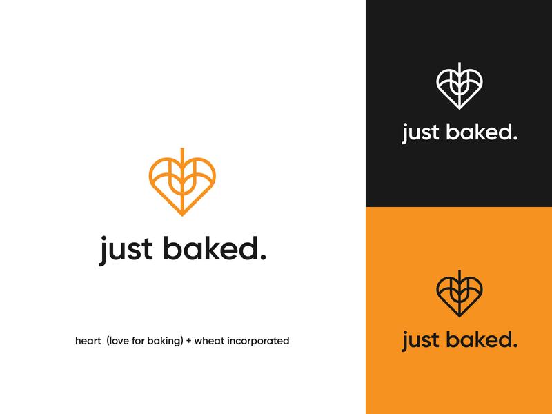 just baked final logo visual identity logo design brand identity bread organic rolling pin wheat logo yellow wheat lettering wordmark logo wordmark logo pastry bakery logo bakery