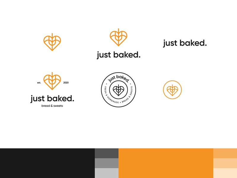 just baked. logo variations + mockups bread organic rolling pin wheat logo yellow wheat lettering wordmark logo wordmark logo pastry bakery logo bakery
