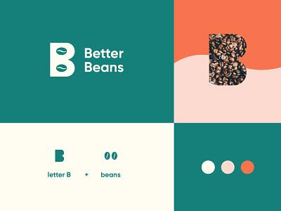 Better Beans Logo 1 leaves packaging modern ethiopian coffee brand brand identity coffee logo logo design logo coffee beans better