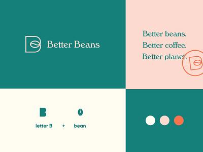 Better Beans Logo 3 leaves packaging modern ethiopian coffee brand brand identity coffee logo logo design logo coffee beans better