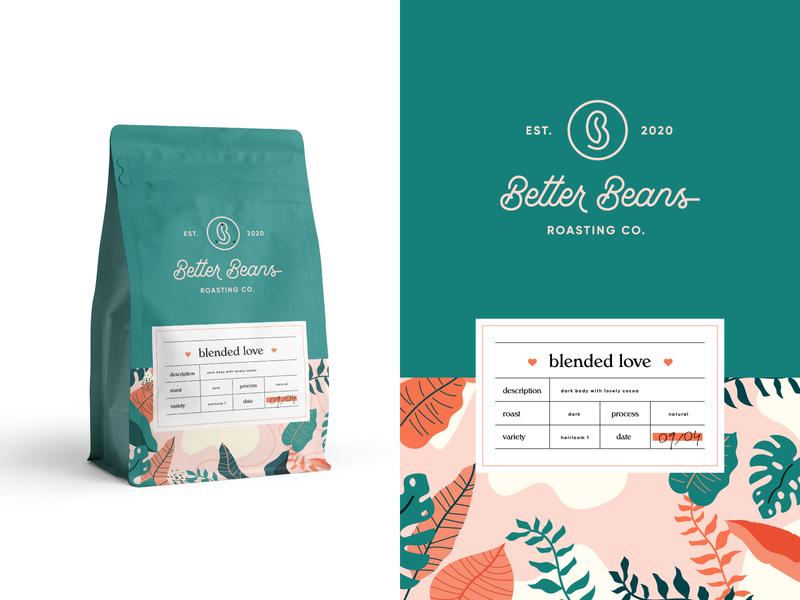 Better Beans Packaging + Label leaves packaging modern ethiopian coffee brand brand identity coffee logo logo design logo coffee beans better