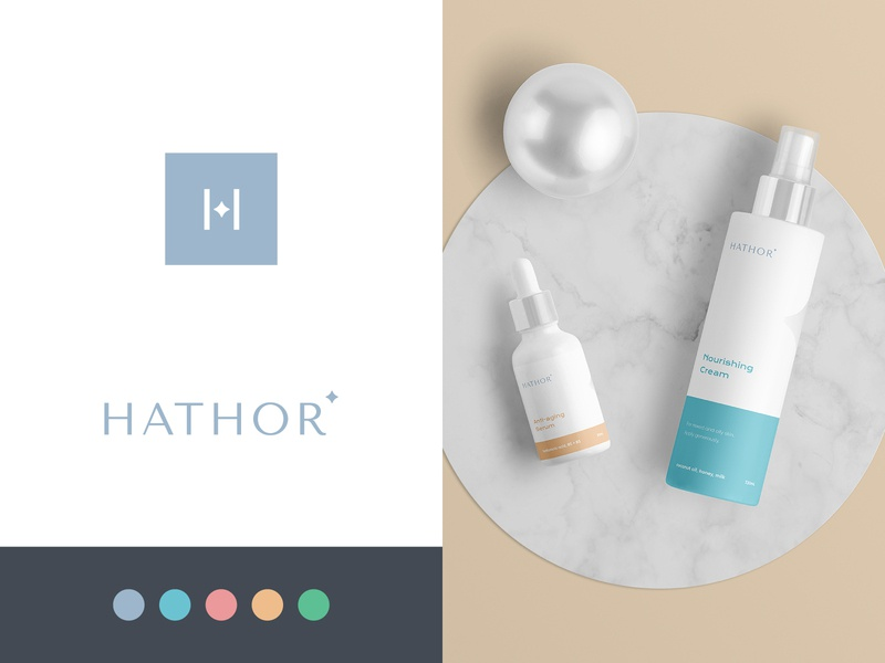 Hathor Final Logo packaging design packaging brand identity logo design beauty identity minimalist modern logo wordmark beauty brand wellness skincare brand women woman skincare organic natural cosmetics beauty hathor