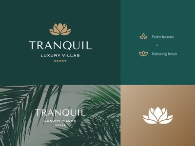 Tranquil Logos3 luxurious luxury brand visual identity vacation brand identity luxury identity lotus resort logo hotel logo villa luxury villas luxury logo luxury palm leaves palm tranquil chill calm relax