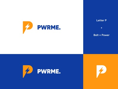 PowerMe Logo Idea #1 power logo thunderbolt bolt thunder power letters brand identity letter logo design modern abstract logo