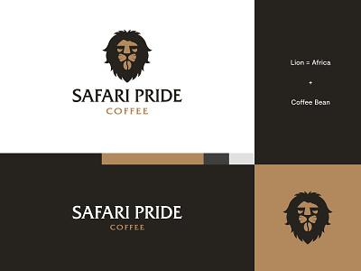 Safari Pride Coffee - Logo Idea #1 animal coffee brand coffee logo coffee lion logo lion africa safari brand identity logo design modern abstract logo