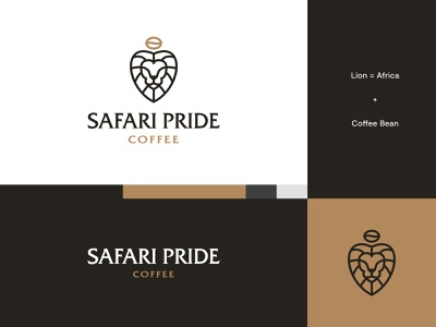 Safari Pride Coffee - Logo Idea #2 coffee brand coffee logo coffee lion logo lion africa brand identity logo design modern abstract logo