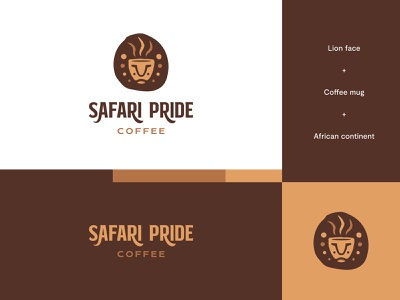 Safari Pride Coffee - Logo Idea #3 coffee brand coffee logo coffee lion logo lion africa brand identity logo design modern abstract logo