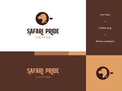 Safari Pride Coffee - Logo Idea #4 coffee brand lion logo coffee logo coffee lion design brand identity logo design modern abstract logo