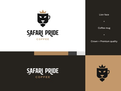 Safari Pride Coffee - Logo Idea #5 coffee mug coffee logo coffee lion logo lion brand identity logo design modern abstract logo