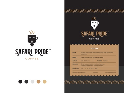 Safari Pride Coffee - Final Logo & Packaging Labels label coffee label packaging design packaging lion brand lion logo lion coffee brand coffee packaging coffee logo coffee brand identity logo design modern abstract logo