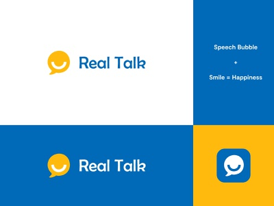 Real Talk App Logo #1 speech pathologist speech therapist speech therapy speech bubble speech logo speech smile logo smile logo design modern abstract logo