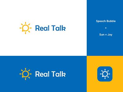Real Talk App Logo #2 sun logo sun speech therapy speech pathologist speech logo speech bubble speech brand identity logo design modern abstract logo