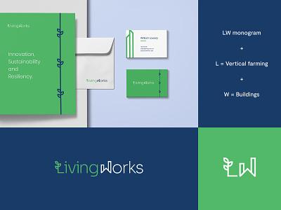 Living Works - Logo & Brand identity Idea #1 branding graphic design skylines buildings urban vertical farming design brand identity letter logo design modern abstract logo