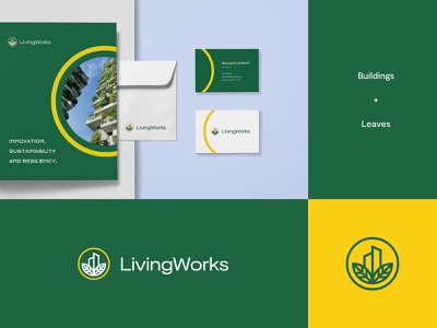 Living Works - Logo & Brand identity Idea #2 sustainability sustainable leaves vertical farming farming urban buildings branding brand identity logo design modern abstract logo