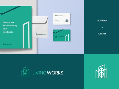 Living Works - Logo & Brand identity Idea #3 sustainability sustainable leaves skylines buildings branding graphic design design brand identity logo design modern abstract logo