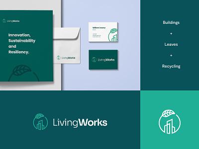 Living Works - Logo & Brand identity Idea #4 leaf leaves skylines buildings branding graphic design design brand identity letter logo design modern abstract logo