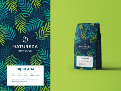 Natureza - Coffee Packaging Pouch eco natural organic leaves sustainability coffee packaging coffee logo cafe coffee brand coffee letter brand identity logo design modern abstract logo