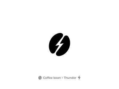 Thunder Coffee Bean design thunderbolt thunder coffee coffee bean bean black logo abstract