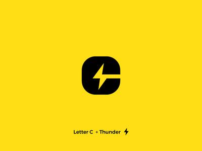 Thunder Letter C thunderbolt thunder letter c letterform yellow letters logo letter abstract