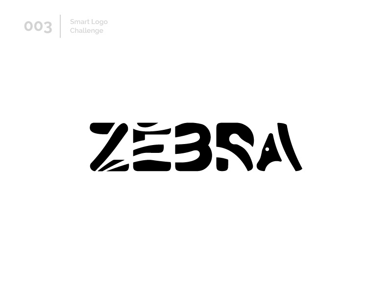 3/100 Daily Smart Logo Challenge negative space letters letterform logo challenge logo design challenge 100 day challenge 100 day project animal zebra black logo letter abstract