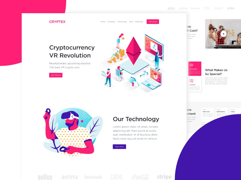 Virtual Reality Blockchain Landing Page vr virtual reality ui typography minimal homepage landing page website illustration isometric blockchain cryptocurrency bitcoin modern abstract