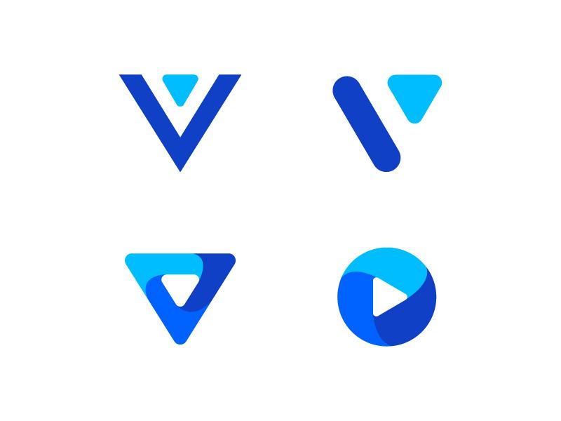 Letter V media logo design blue letterform letters modern logo letter abstract