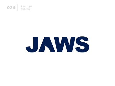 28/100 Daily Smart Logo Challenge blue and white negativespace jaws shark blue logo challenge 100 day challenge wordmark 100 day project letterform letters modern letter logo abstract