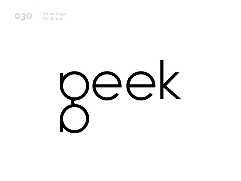 30/100 Daily Smart Logo Challenge geek art geeks glasses geek logo challenge 100 day challenge wordmark 100 day project letterform letters modern letter logo abstract