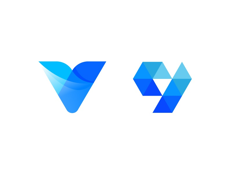 Letter V media logos media center letter v media blue letterform letters modern letter logo abstract
