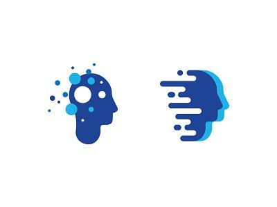 Mind Logo brain creative intelligence mind design blue modern logo abstract