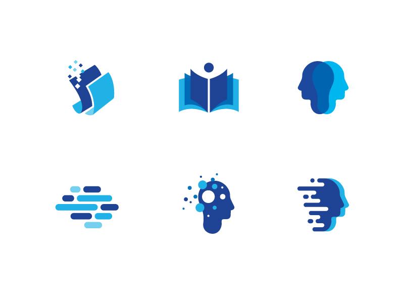 Editing Logos brain intelligence mind paper editing blue modern logo abstract