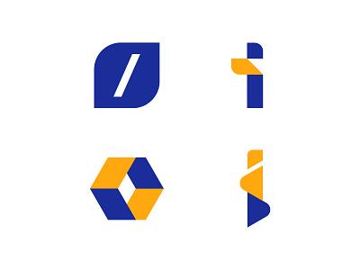 Development Logo development app web orange brackets letter i blue letters letter modern logo abstract