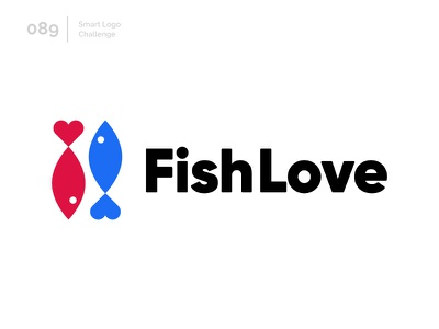 89/100 Daily Smart Logo Challenge logo challenge 100 day project 100 day challenge modern abstract logo fish logo blue fish red fish heart love fish