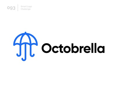 93/100 Daily Smart Logo Challenge blue logo challenge 100 day challenge 100 day project logo abstract fusion umbrella octopus