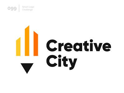 99/100 Daily Smart Logo Challenge negative-space negative space logo challenge 100 day challenge 100 day project modern logo abstract city pencil pen creative