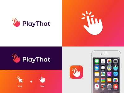 Play That logo visual identity vibrant music logo design logo play jukebox hand gradient click branding brand identity abstract