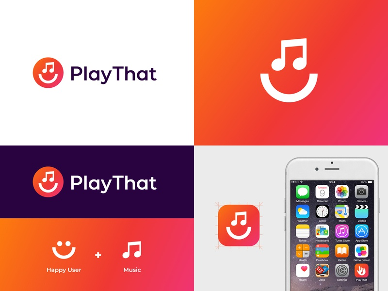 Play That logo vibrant gradient jukebox modern visual identity brand identity music play smile happy logo abstract