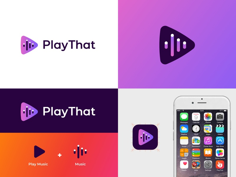 Play That logo modern play button visual identity brand identity logo abstract waves sound music that play