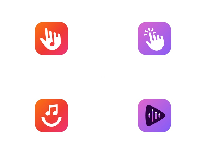 Play That - Final Logo Explorations sound smile happy play button click jukebox hand music that play modern logo abstract